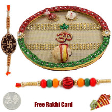 Om Rakhi Thali with Free Silver Coin