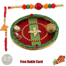 Flower Rakhi Thali with Free Silver Coin