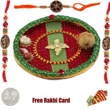 Thali with 3 Designer Rakhis