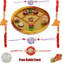 Thali with 2 Thread Rakhis and 3 Zardosi Rakhi