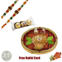 Thali with 2 Rakhis and Chocolates