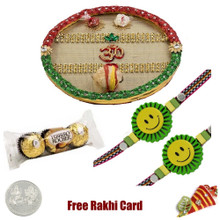 Thali with 2 Kids Rakhis and 3 Piece Ferrero Rocher