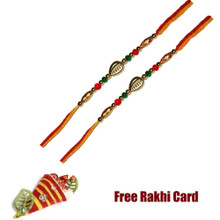 Set of 2 Colorful Single Bead Rakhi with Roli Tikka and Card