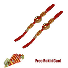 Set of 2 Golden Bead Rakhi with Roli Tikka and Card
