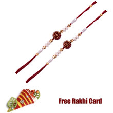 Set of 2 Swastik Rakhi with Roli Tikka and Card
