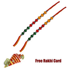 Set of 2 TriColor Beads Rakhi with Roli Tikka and Card
