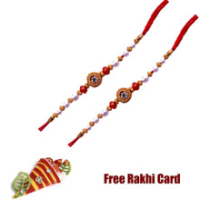Set of 2 Rudraksh Red Beads Rakhi with Roli Tikka and Card