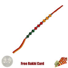 TriColor Beads Rakhi with Free Silver Coin - Canada