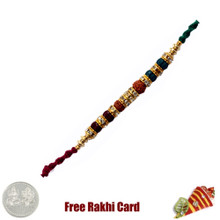 Glittering Double Rudraksh Rakhi with Free Silver Coin - Canada