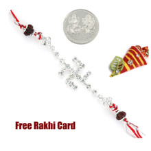 Jewelled Swastik Rakhi with Free Silver Coin - Canada