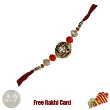 Metal Swastik Rakhi with Free Silver Coin - Canada
