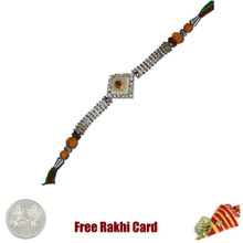 Om White Bracelet Rakhi with Free Silver Coin - Canada