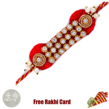 Striking Diamond Zardosi Rakhi with Free Silver Coin - Canada