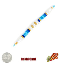 Colorful Blue Rakhi with Free Silver Coin - Canada