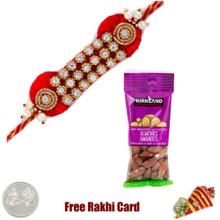 Zardosi Rakhi with 50 grams Almonds - Canada