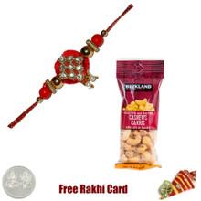 Zardosi Rakhi with 50 grams Cashews - Canada