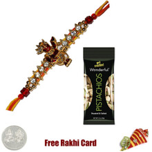 Jewelled Rakhi with 50 grams Pistachios - Canada