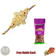 24 Ct. Gold Plated Rakhi  with 50 grams Almonds - Canada