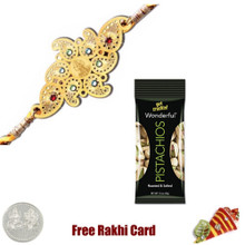24 Ct. Gold Plated Rakhi  with 50 grams Pistachios - Canada
