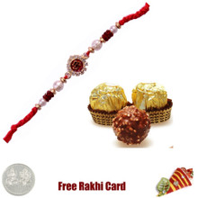 Ethnic Rakhi with 3 Piece Ferrero Rocher - Canada
