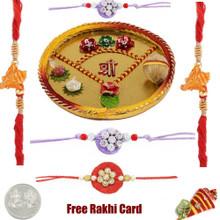 Thali with 2 Thread Rakhis and 3 Zardosi Rakhi - Canada