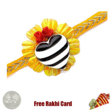 Heart Rakhi with a Free Silver Coin - Canada Delivery