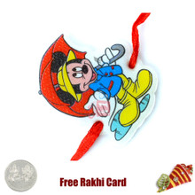 Umbrella Mickey Rakhi with a Free Silver Coin - Canada Delivery