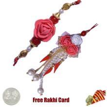 Rose Bhaiya Bhabhi Rakhi Pair with a Free Silver Coin - Canada Delivery