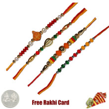 Set of 4 Beads Rakhi - Canada Delivery