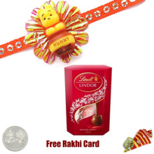 Kids Rakhi with Lindt Lindor Milk Chocolate Truffles Carton  - UK Delivery
