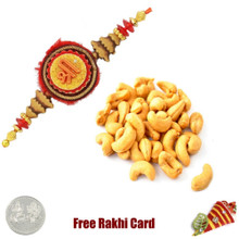 Ethnic Rakhi with 200 grams Cashews  - UK Delivery