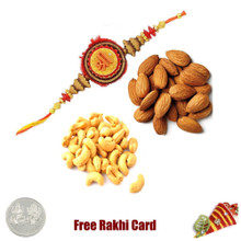 Rakhi with 200 Grams Almonds and Cashews and Free Silver Coin - UK Delivery