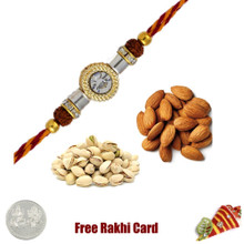 Rakhi with 200 Grams Almonds and Pistachios and Free Silver Coin - UK Delivery