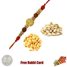 Rakhi with 400 Grams Pistachios and Cashews and Free Silver Coin - UK Delivery