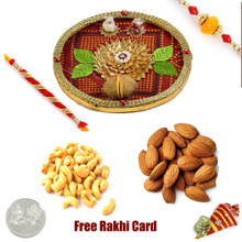 Rakhi Thali with 100 grams assorted dryfruits and Free Silver Coin - UK Delivery