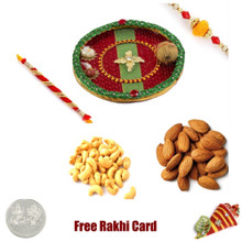 Rakhi Thali with 400 grams assorted Dryfruiits and Free Silver Coin - UK Delivery