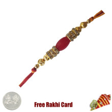Elegant Beads Rakhi with Roli Tikka and Card  - UK Delivery