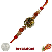 Om Rudrakh Fancy Rakhi  with Free Silver Coin with Free Silver Coin - UK Delivery