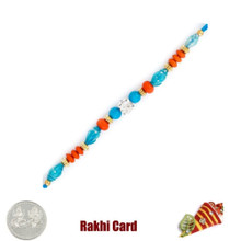 Blue Studded Rakhi with Free Silver Coin - UK Delivery