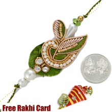 Green Leaf Zardosi Rakhi with Free Silver Coin - UK Delivery