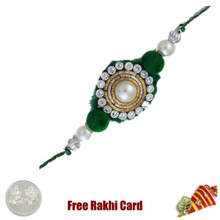 Green Diamond Zardosi Rakhi with Free Silver Coin - UK Delivery