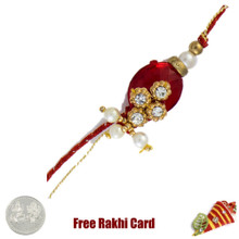 Red Diamond Rakhi with Free Silver Coin - UK Delivery