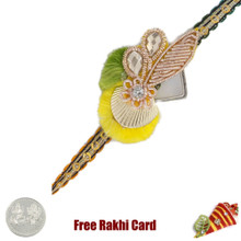 Elegant Zardosi Rakhi with Free Silver Coin - UK Delivery