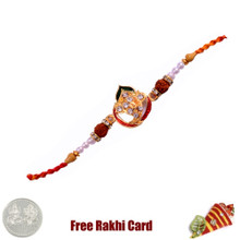 Traditional Om Rakhi with Free Silver Coin - UK Delivery