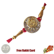 Shining Om Rakhi with Free Silver Coin - UK Delivery