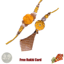 Yellow Flower Bhaiya Bhabhi Rakhi Pair with a Free Silver Coin - UK Delivery