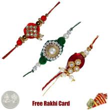 Zardosi Rakhi Set of 3 - UK Delivery