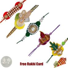 Zardosi Rakhi Set of 5 - UK Delivery