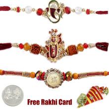 Jewelled Rakhi Set of 3 - UK Delivery