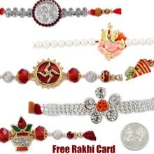 Jewelled Rakhi Set of 5 - UK Delivery